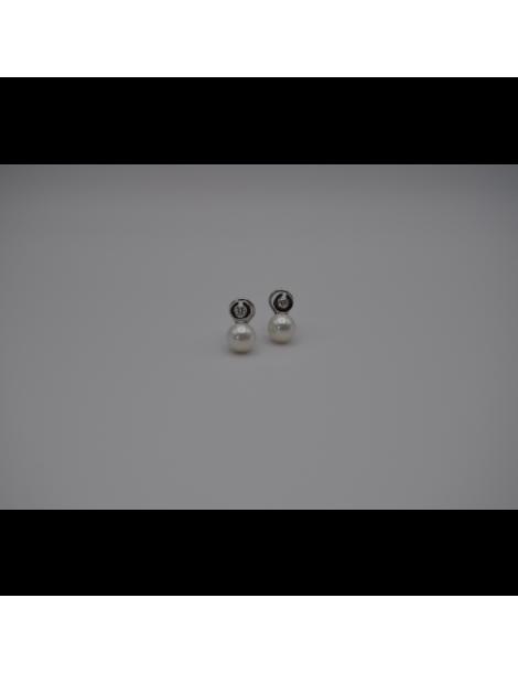 Pendientes, perla, oro y diamante