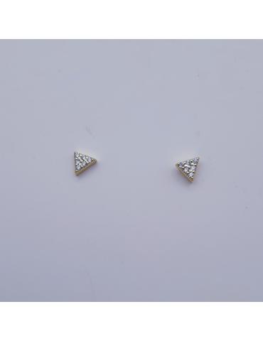 Pendientes plata triangulo, segundo agujero, circonitas