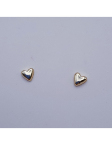Pendientes de plata, segundo agujero, dorado con corazón