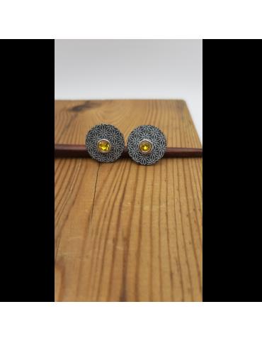 Pendientes aluminio, con piedra de color. Reversibles
