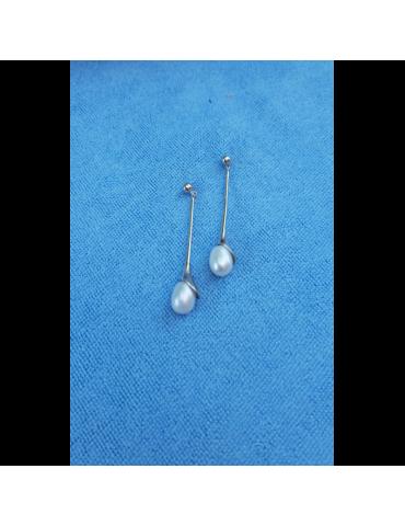 Pendientes de plata y perla